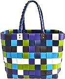 normani® Einkaufstasche Shopper geflochten aus Kunststoff - robuster Strandkorb Vintage Style 38cm x 25cm x 28cm Farbe Classic/Neptun