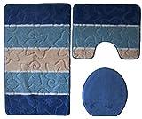 Orion Badgarnitur 3 tlg. Set 60x100 cm Dunkel Blau WC Vorleger mit Ausschnitt geprüft nach OEKO-TEX Standard 100