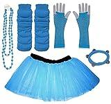 A-Express Bleu 8-14 année filles Enfants Neon Tutu Jupe Jambières Collier Gants Résille Partie complet Déguisement Ensemble