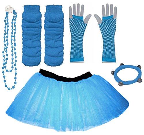 Preisvergleich Produktbild A-Express Blau Mädchen Kinder 4-7 Jahr Neon Tütü Rock Beinstulpen Fischnetz Handschuhe Halskette Tüll Verkleidung Party TutuRock Kostüm Set