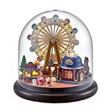 HJXDtech-Cuteroom Miniature DIY Dolls' House Crafts Kits with Glass Cover and Light Micro-landscape Decoration