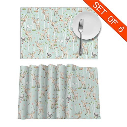 BigHappyShop Placemats Woodland Animals Deer Fox Raccoon Birch Trees Flowers Heat Insulation Non Slip Plastic Kitchen Stain Resistant Placemat for Dining Table Set of 6