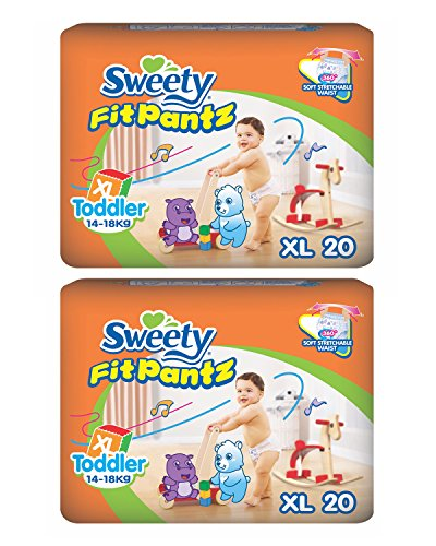 Sweety Fit Pantz Baby Diapers (XL Count 20) - Pack of 2