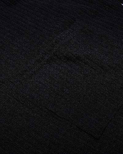 ACHIOOWA Damen Oversize Shirt Herbst Casual Schulterfrei Jumper Unregelmäßigen Stretch Tops mit Tasche Schwarz