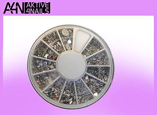 Aktive4Nails Nagestudio Starterset 2Go Nr.1 UV Gel Nagel Set Nagelstudioset + 1x RONDELL GRATIS mit 600 Strasssteinchen gefüllt mit verschiedenen Motiven in crystall