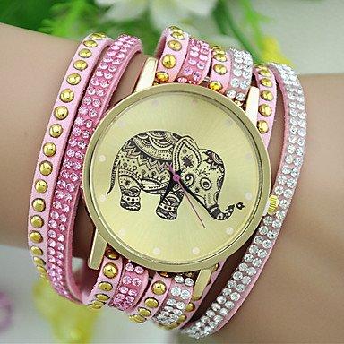 XKC-watches Relojes de Mujer, Reloj Pulsera patrón de Remaches de Diamantes de imitación de la Moda del Elefante del Estilo Europeo de Las Mujeres (Color : Rosa)