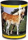 Läufer 26557 Papierkorb mit Motiv Pferd und Fohlen, 13 Liter Mülleimer, perfekt für das Kinderzimmer, rund, stabiler Kunststoff
