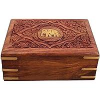 Scatola di legno gioielli, Centro Elefante Inlay bagagli di sicurezza, 6X4 pollici Vintage Box, Keepsake Box, Thanks Giving o regalo di
