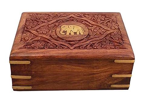 Geschenk zum Vater am Vatertag Hölzerne Schmuck-Box-Center Elefant Schnitzarbeit 6X4, Aufbewahrungsbehälter , Vintage-Kästen