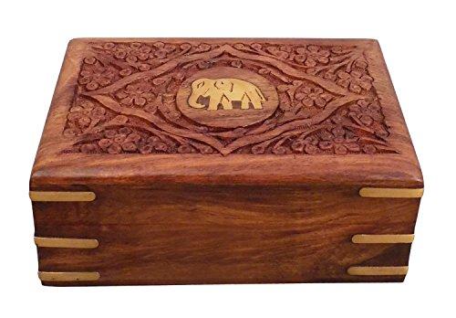 Regalo de la acción de gracias para sus seres queridos Madera Joyero centro de elefante 7X5 talla trabajo, caja de almacenaje