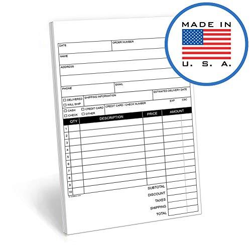 321done 2-teilige kohlenstofffreien Rechnung Sales Bestellung Form, 50Sets pro Pad, Buchstabe Größe 21,6x 27,9cm, hergestellt in den USA 5.5 x 8.5 inches Blank Header