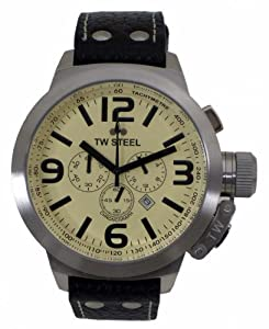 TW Steel Canteen Style TW-3 - Reloj unisex de cuarzo, correa de piel color negro de TW Steel