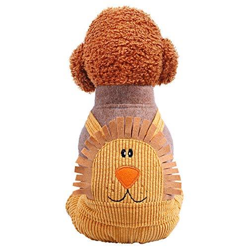 Kostüm Wetter Warm - NashaFeiLi Haustier Kleidung Hund Mantel Löwe Baumwolle Vierbeiner Jumpsuit Warm Jacke Kaltes Wetter Kostüm für Welpen Kleine Hunde