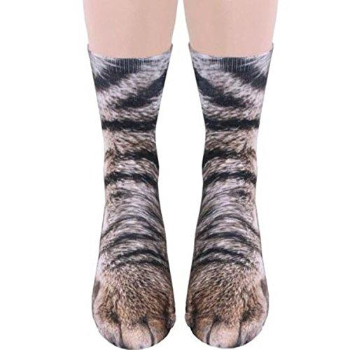Flach Slouch Boot (TianranRT 6-12 Jahre Alt Kinder Kinder Tier Pfote Besatzung Socken Sublimiert Drucken (Katze))