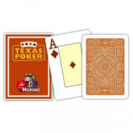 """MODIANO """"Texas Poker Hold´em"""" - 100% Plastik Kartenspiel, 2 Pips / Eckzeichen im Jumbo Index, braun"""