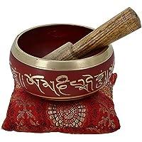 Bol chantant tibétain de méditation Rouge Art bouddhiste Décor 10,2cm