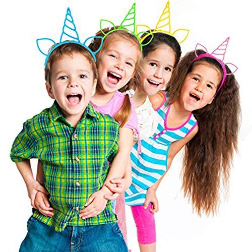 EisEyen Einhorn Cute Haarreif Haarband Haar Reif Haarband Spange Haar für Geburtstagsfeier, Klassenzimmer, Cosplay, Kids Party, Weihnachten, Halloween, Oktoberfest (12 stück)