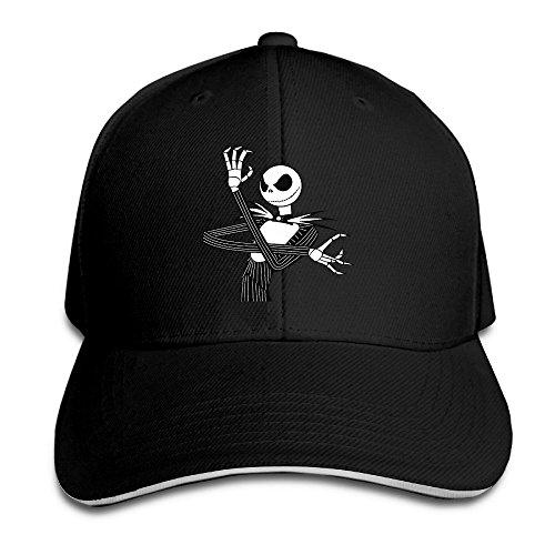 are Before Christmas Jack Skellington Sandwich Peaked Baseball Caps/Hats Adjustable For Unisex Black ()