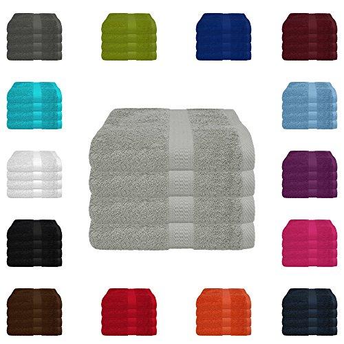 4 tlg. Handtuch-Set in vielen Farben - 4 Handtücher 50x100 cm - Farbe silber