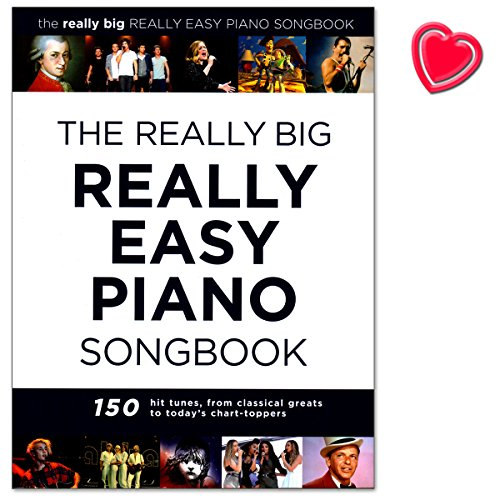 The Really Big Really Easy Piano Songbook - 150 hit tunes for really easy piano (with lyrics and chords) - Klavierpartitur mit bunter herzförmiger Notenklammer (Big Bass Magic)