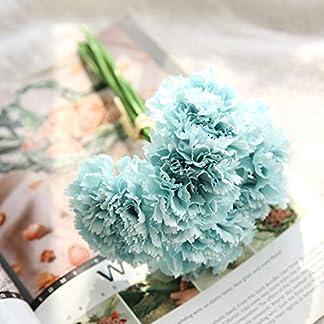 Vidillo – Ramo de flores artificiales de clavel, 6 unidades, aspecto real, flores falsas, resistente a los rayos UV, plástico sintético, arbustos de vegetación para boda, aniversario, jardín, hogar, festival, fiesta, decoración