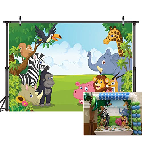 LYWYGG Hintergrund der Zoo Fotografie 7 x 5FT Cartoon Safari Tiere Hintergrund Happy Birthday Fotografie Hintergrund Fauna Jungle Wildlife Zoo Mottoparty Dekoration Foto Studio Requisiten CP-4