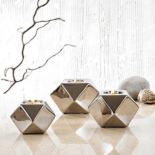 Purelifestyle, GYP024, 3 teilig Set Porzellan Teelichthalter Galvanisch in 3 Größe Teelichter Halter Kerzenhalter Tischdeko Hochzeitsdeko Weihnachtsgeschenk Valentinstag Geschenk