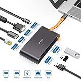 USB C Hub HDMI 4K 7 in 1,Type C Adapter mit VGA/RJ45 Gigabit Ethernet LAN/USB 3.0 (5Gbps) und 100W PD Schnelllade Port,Dockingstation mit MacBook Pro2016/2017/2018 und mehr