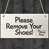 Red Ocean Please Remove Your Shoes! Thank You! Take Your Shoes Sign Hanging Door Sign Wooden Plaque Gift