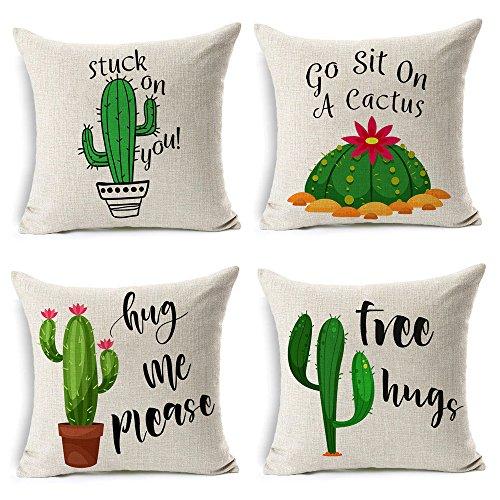 4 Stück Outdoor Sofa (MIULEE 4 Stück Sommer Stil Kaktusdekor Überwurf Kissenbezug Grün Pflanzen Dekorative Baumwolle Leinen Jute Quadratisch Outdoor Kissenbezug für Auto Sofa Bett Couch 45,7 x 45,7 cm)