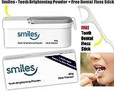 SMILES Teeth Brightening Whitening Powder 40g Mint Flavour 6 Months Supply + FREE DENTAL FLOSS STICK