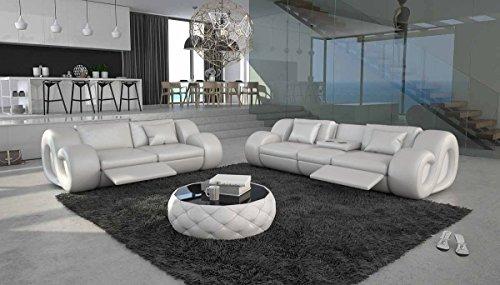 2-Sitzer Couch mit Kunstleder Bezug in weiß 200x113 cm | Tane | Moderne Sofa-Garnitur 2-Sitzer weiss 200cm x 113cm