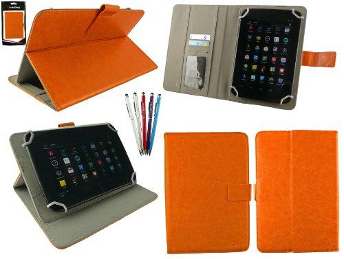 emartbuy Packung mit 5 Kugelschreiber 2 in1 Eingabestift +Universalbereich Orange Folio Wallet Hülle Schutzhülle Cover mit Kartensteckplätze geeignet für I.onik TP - 1200QC 7.85 Inch Tablet