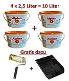 4 x 2,5 L. = 10 L. Alpina Wandfarbe Sprüh Weiss, Weiss Matt für ca. 80 m² + Gratis Roller & Kunststoffwanne