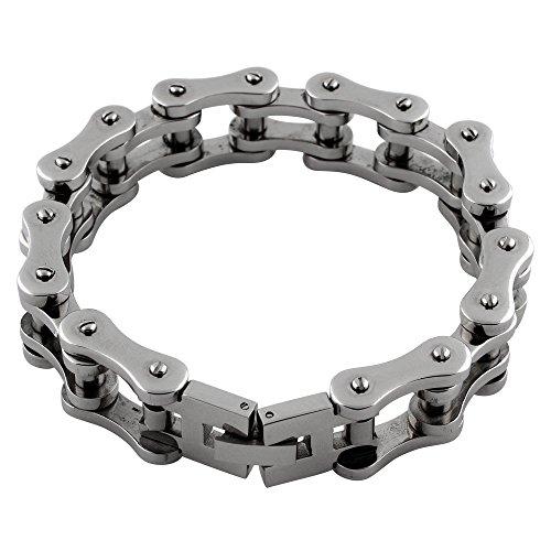 Forme de moto Bracelet Chaîne en acier inoxydable 14mm (longueurs 20,3cm -10cm)