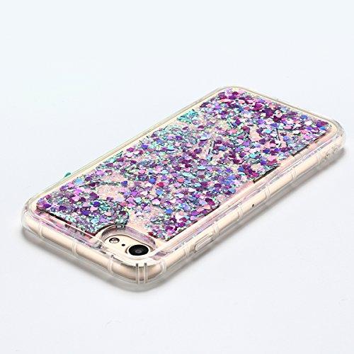Coque iPhone 7 , E-Lush Apple iPhone 7 Liquide Sables Mouvants Etui Vert Feuille Quicksand Motif Coque cover Etui Cover Case Bling Bling Glitter Étoile Paillettes Etui Housse Souple Silicone TPU + Dur Violet