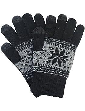 TININNA Inverno Caldo Natale Fiocco di neve lavorato a maglia Knit Touchscreen Guanti touch screen Guanti Nero