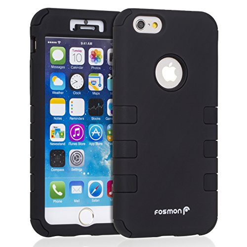 Fosmon Technology () hybo-cage Coque Apple iPhone 6/6S – détachable hybride en silicone et PC pour iPhone 3S/6 – Fosmon emballage noir