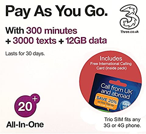 Three UK All-in-one 20+ PAYG Trio SIM Card -300 minutes, 3000 texts + 12GB data - (RETAIL PACK)