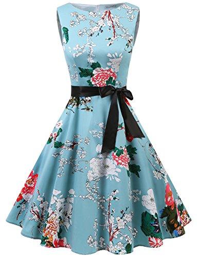 Gardenwed Damen Vintage 1950er Partykleid Rockabilly Ärmellos Retro Cocktailkleid Floral XL