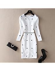 XuankuLa Mujer Elegante Aristocrática Industria Pesada Bordado Flor Blanca San Sau Long-Sleeved Vestidos L White