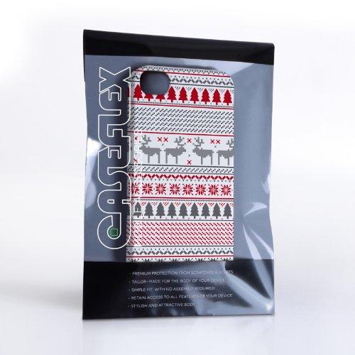 Caseflex iPhone 4 / 4s Case White / Red Fairisle Christmas Reindeer Hard Cover