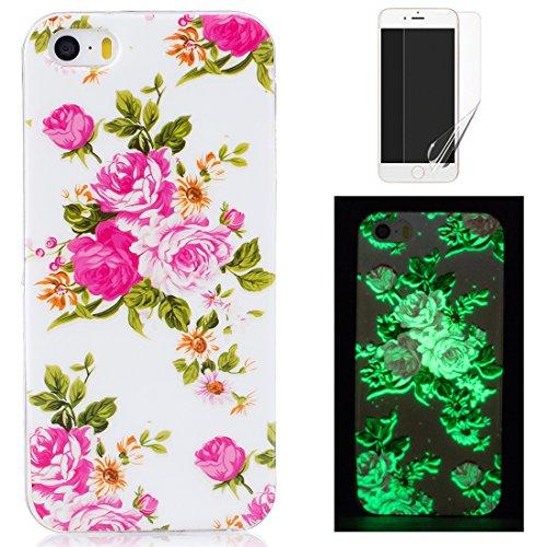 Per iphone 5/iphone 5S/iphone SE Cover Silicone Luminose e Pellicola Protettiva ,OYIME Disegno Fluorescente Illuminate