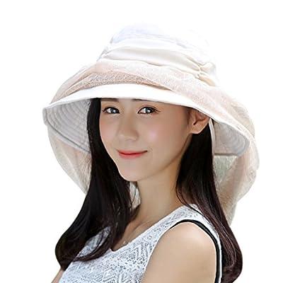 FakeFace Damen Mädchen Sonnenhut mit Gesichtsschleier Sommerhut Strandhut Sonnenschutz Hüte Hut Kappe aus Chiffon Anti-UV
