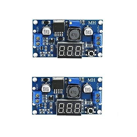 vikins LM2596DC-DC régulateur de tension réglable 4.0–40V à 1,25–37V, 36V à DC 24V à 12V à 5V Alimentation variable V moteur Buck Step Down Convertisseur de voiture avec affichage voltmètre Rouge (Lot de 2)