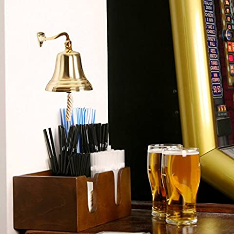 Brass Last Orders Bell Small 3.5inch / 90mm | bar@drinkstuff Small Brass Bell - Ships Bell, Pub Bell, Wall Mountable Bell - Ideal for Pubs & Home Bars