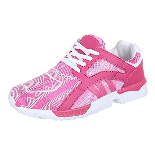 Damen Schuhe, 523, FREIZEITSCHUHE, SNEAKERS TURNSCHUHE, Synthetik in hochwertiger Lederoptik , Rosa, Gr 40 (Karierte Keds Schuh)