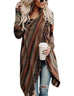La Mujer Invierno Casual Borlas Con Flecos De Rayas Irregulares Étnicas Cardigan Abrigos