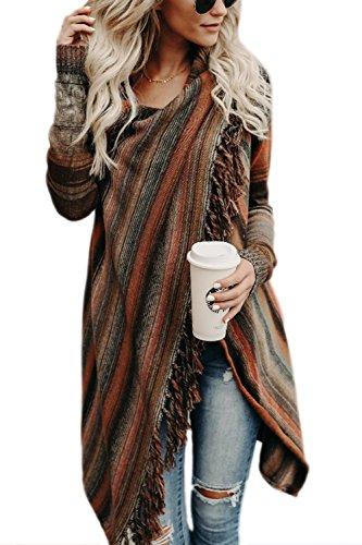 Zilcremo Mujer Frente Abierto Borla Cardigan Abrigos Suéter Poncho De