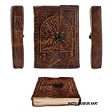 #6: Jaipuri Haat Leather Diary Journal Antique Embossed Tree And Hook Stopper Alongwith Pure Recycled Organic Handmade Paper (18*13cm) 180 Pages